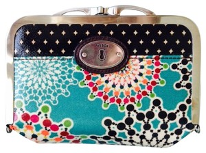 Fossil Kisslock Key Per Framed Cosmetic Makeup Bag