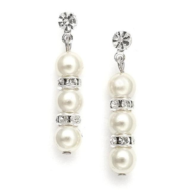 Item - Silver/Ivory Alternating Pearl and Rondelle 709e Earrings