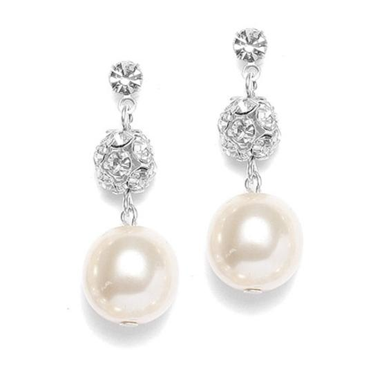 Mariell Silver/Ivory Pearl with Rhinestone Fireballs 878e Earrings