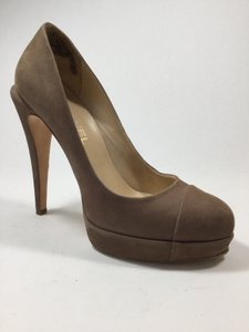 Chanel Platform Suede Cap Toe Dark Beige Pumps