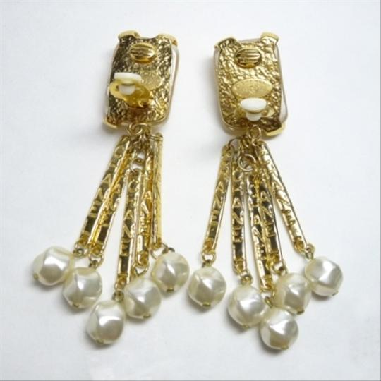 Chanel Auth Chanel 1993 Vintage Gripoix Glass Pearl Dangle Earrings Rare