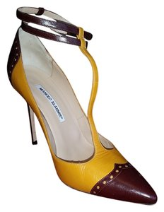 Manolo Blahnik Maroon and goldish yellow Pumps