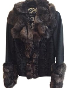 Pera Black Leather And Grey Fur Jacket