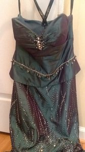 Irrideciant Green Taffeta Bridesmaid/Mob Dress Size 4 (S)