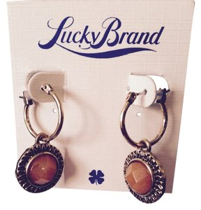 Lucky Brand Carnelian Gold-Tone Drop Earrings