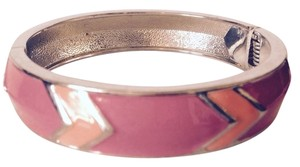 Jessica Simpson Pink & Orange Chevron Enamel Hinged Bangle Bracelet