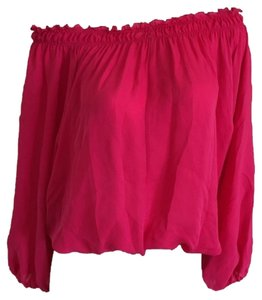 Chelsea Flower Open Shoulder Top Hot Pink