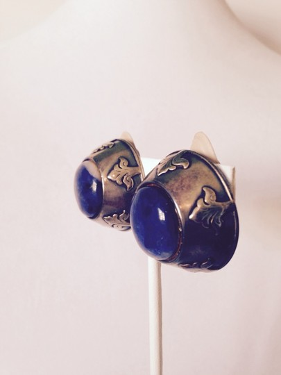 Other Sodalite Gemstone In Sterling Silver & Bronze Clip Earrings