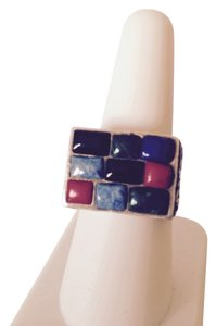 Estate Multi-Gemstone Sterling Silver Ring, Size 8