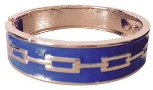 Jessica Simpson Royal Blue Enamel & Gold Hinged Bangle Bracelet