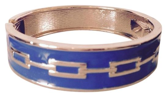 Preload https://item4.tradesy.com/images/jessica-simpson-bluegold-royal-enamel-and-hinged-bangle-bracelet-3168793-0-0.jpg?width=440&height=440
