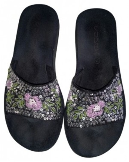 Other Black with Silver Sequin Design Sandals