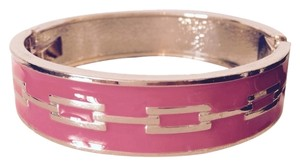 Jessica Simpson Hot Pink Enamel & Gold Hinged Bangle Bracelet
