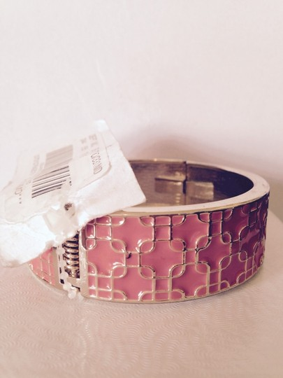 Ava & Grace Apricot Enamel & Gold Hinged Bangle Braceley