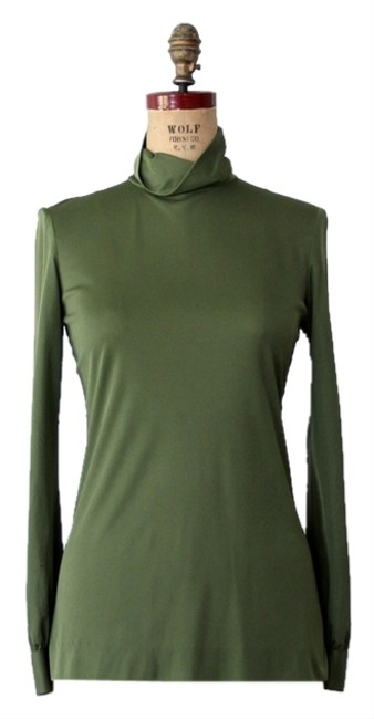 Emilio Pucci 1960s Silk Long Sleeve Polo Neck Top Green