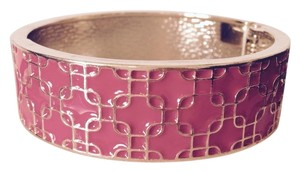 Ava & Grace Hot Pink Enamel & Gold Hinged Bangle Bracelets