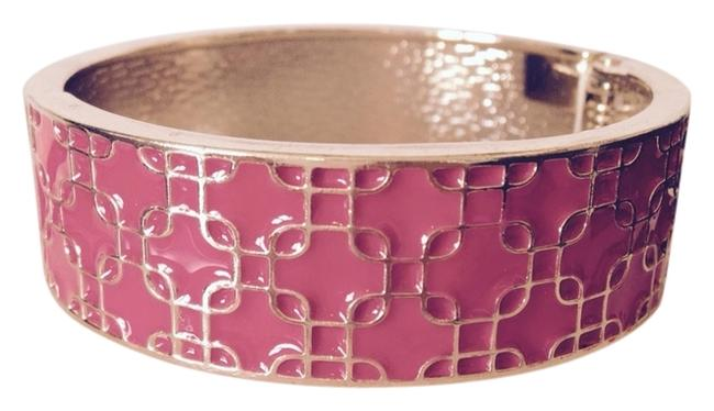 Item - Hot Pink/Gold Enamel Hinged Bangle Bracelets