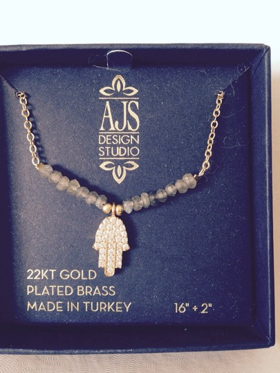 AJS Design Studio Faceted Labradorite, Cubic Zirconia In 22kt Gold-Plated Brass Necklace