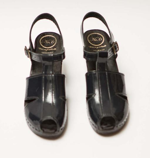 No. 6 Soho Chic Platform Clog Patent Leather Navy Wedges