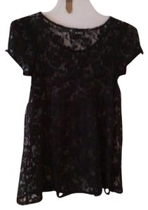 A. Byer Size 12 Large Black Top Black Lace