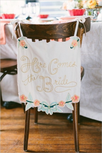 Item - Cream Here Comes The Bride Banner