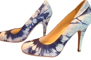 Miu Miu 4 Inches Blue Multi-Color Tie Dye effect Suede Pumps