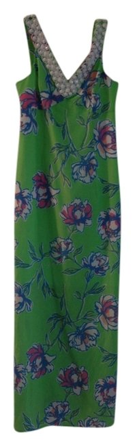 Item - Green White Pink Blue Long Night Out Dress Size 2 (XS)