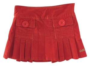 Le Tigre Corduroy Mini Pleated Mini Skirt Orange