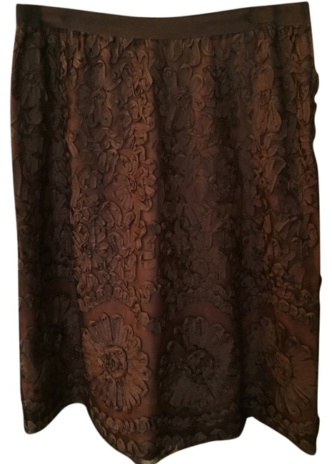 H&M Ribbon Lined With Side Zipper And Elastic Waistband. Skirt Brown