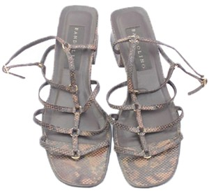 Bandolino Woman Designer Brown Faux Snakeskin Strappy Sandals Sandals