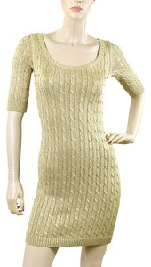 Ralph Lauren Knit Cable Metallic Ribbed Dress