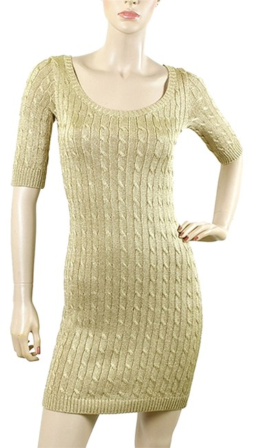 Ralph Lauren Knit Cable Metallic Ribbed Fitted Party Dress