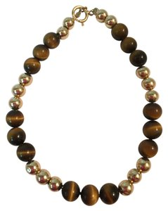 Other 14K YELLOW GOLD AND BROWN BEAD BRACELET