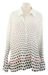 Sunny Leigh Button Down Shirt Polka Dot white