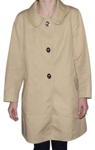 Coach Tan Trench Raincoat Rain Jacket Signature Fabric Satin Lining 8 Trench Coat