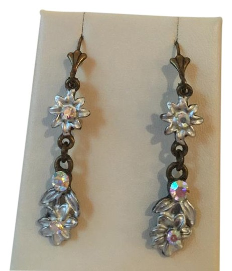 Michal Negrin Hanging, Fun Michal Negrin Blue and White Flower Design Earring