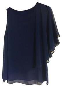 Pleione One Shoulder Sheer Flowy Top Navy