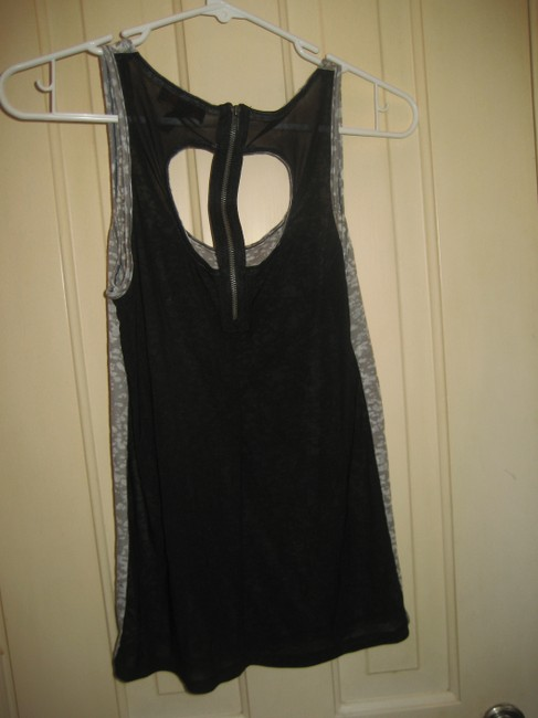 Material Girl Love See-through Back Zipper Tank Top Gray