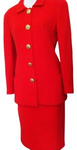 Chanel Vintage Chanel Red Skirt Suit
