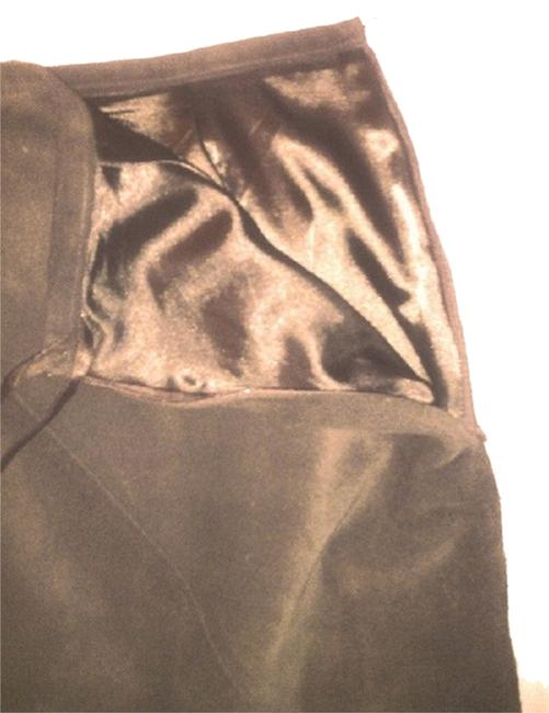 INC International Concepts Genuine Leather Silk Linen Free Shipping Suede Skirt Brown