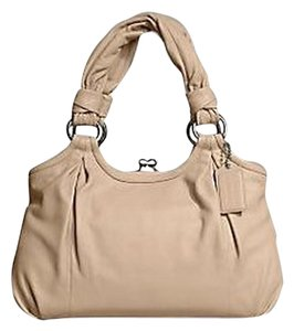 Coach Leather Satchel Nude Camel Beige Shoulder Bag