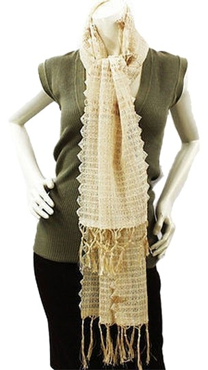Other WOVEN FRINGES LINEN LACE METALLIC TRIM SCARF