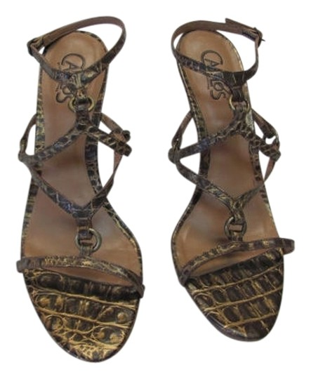 Carlos by Carlos Santana New Exellent Condition Size 7.50m Reptile Design Leather brown, gold Sandals