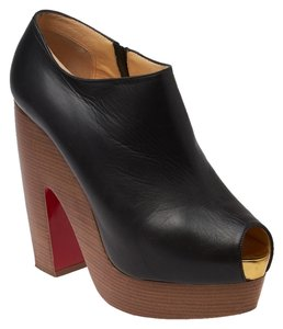 Christian Louboutin Miss Tack Leather Ankle Boots Black Pumps