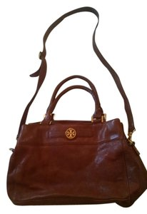 Tory Burch Great Work Large Crossbody Vintage Leather Lots Of Compartments Logo Satchel in Brown Cognac