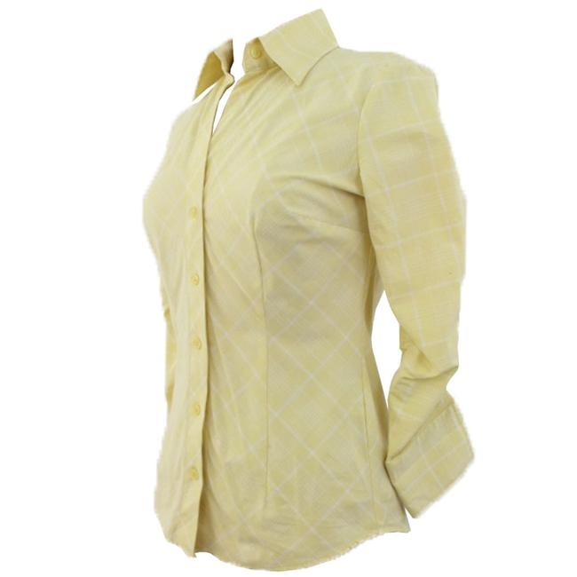 New York & Company Woman Button Down Shirt Yellow And White