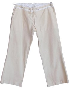 James Perse Seersucker Cotton Capris Beige