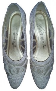 Caressa Light Beige Lace Pattern Pumps