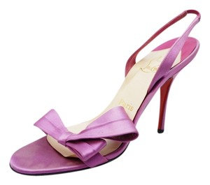 Christian Louboutin Grusanda Lavender Satin Bow Heels 100mm 8 M Purple Sandals