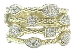 David Yurman David Yurman Confetti Four-row Diamonds Yellow Gold Ring Sz 8.5